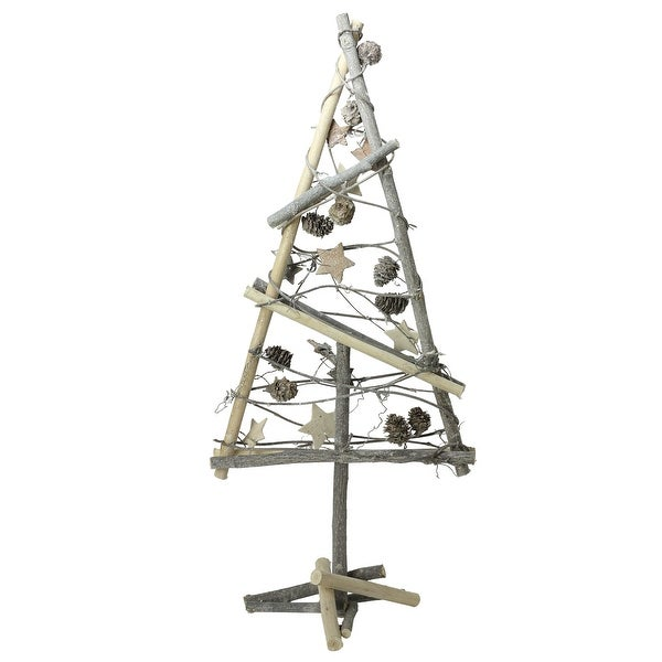 """23"""" Natural Twig with Pine Cones and Stars Christmas Tree Tabletop Decoration - brown"""