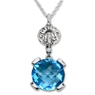 Evert DeGraeve 8 1/3 ct Natural Swiss Blue Topaz Pendant in Sterling Silver