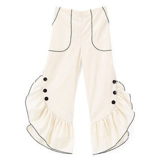 Little Girls Ivory Black Ruffled Trim Button Detail Cotton Pants