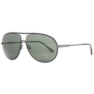 Tom Ford Cliff TF 450 02N Matte Black Green Aviator Sunglasses - MATTE BLACK - 61mm-11mm-140mm