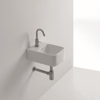 """WS Bath Collections Normal 01C 9-1/2"""" Ceramic Wall Mounted / Vessel Bathroom Sink with 1 Hole Drilled and Overflow from the"""