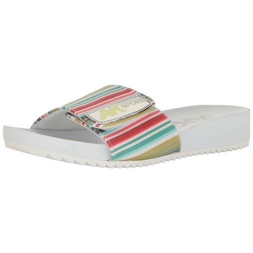 Anne Klein Womens Quen Open Toe Casual Slide Sandals