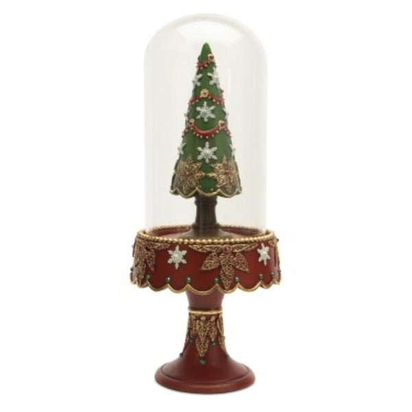"""12"""" Vintage-Style Glass Domed Christmas Tree Table Top Decoration"""