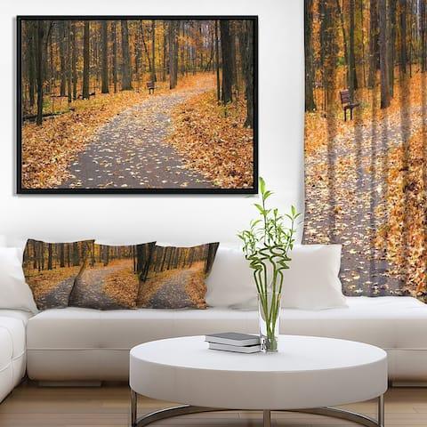 Designart 'Autumn Walk Way with Fallen Leaves' Modern Forest Framed Canvas Art