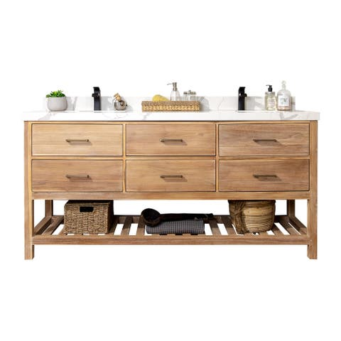 Willow Collections 72 x 22 Parker Solid Teak Wood Bathroom Vanity with 2 in Countertop