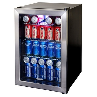 NewAir AB-850 84-Can Stainless Steel Beverage Cooler - stainless steel & black