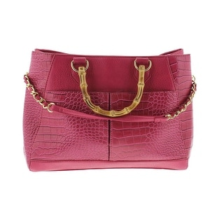 Olivia + Joy Womens Faux Leather Textured Satchel Handbag - Fuchsia - Large