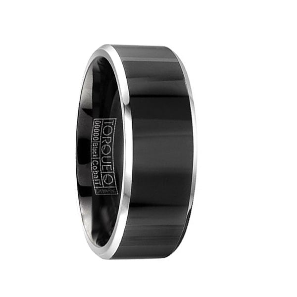 YAMAZAKI Torque Black Cobalt Wedding Band Polished Finish Center Beveled Edges by Crown Ring - 9 mm