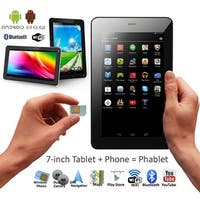 "Indigi 3G Unlocked 2-in-1 Phone + Tablet ( Android 4.4 + 7.0"" Screen + Bluetooth + Google Play + WiFi) - Black"