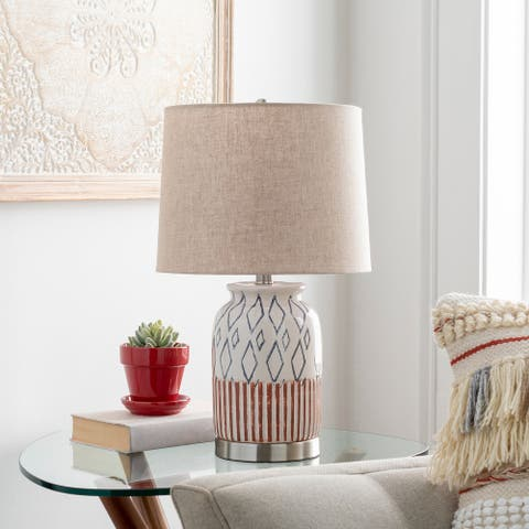 Othello Moroccan Painted Ceramic 21-inch Table Lamp
