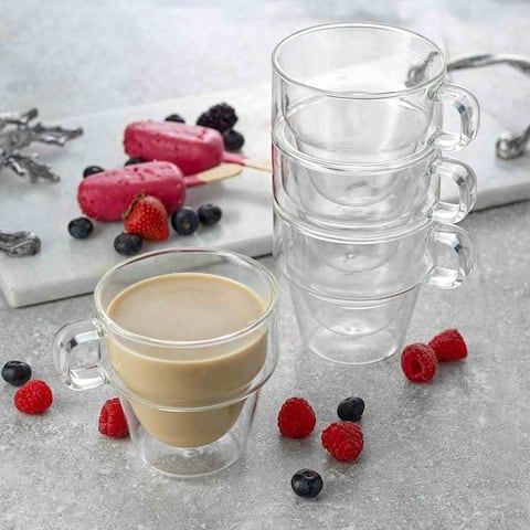 JoyJolt Stoiva Stackable Double Wall Insulated Espresso 5 oz Glass Cups, Set of 4