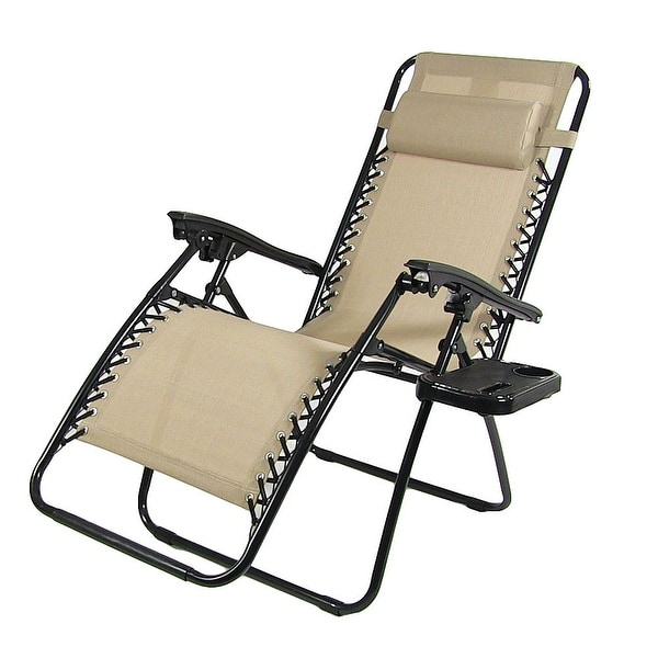 Sunnydaze oversized zero gravity lounge chair with pillow and cup holder free shipping today - Oversized zero gravity lounge chair ...