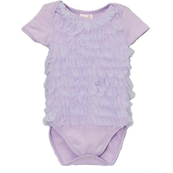 Wenchoice Baby Girls Lavender Chiffon Ruffles Short Sleeve Bodysuit