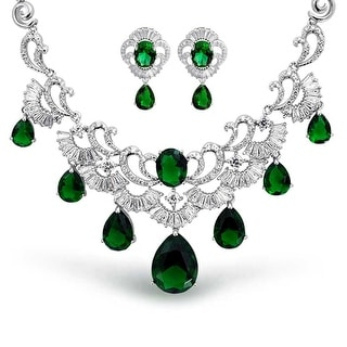 Bling Jewelry CZ Pear Green Wedding Set Rhodium Plated