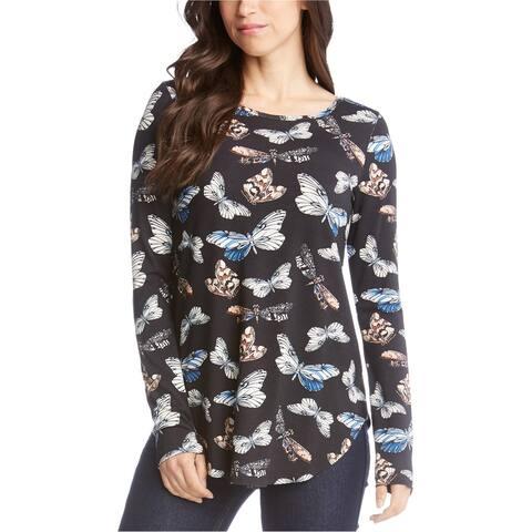 Karen Kane Womens Butterfly Basic T-Shirt, Black, X-Small