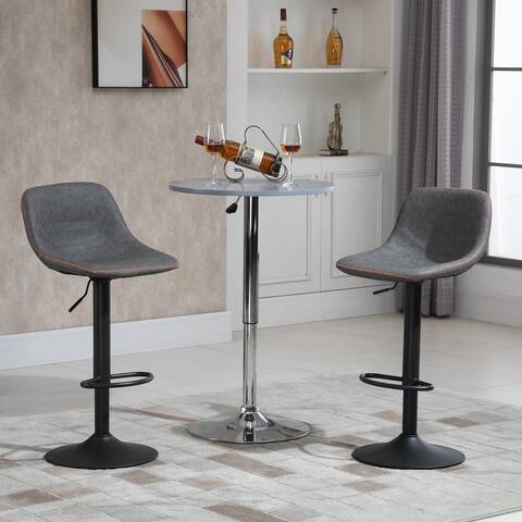 HOMCOM Swivel Bar Stools Set of 2 Bar Height Chairs Adjustable Height Barstool PU Leather Padded with Back