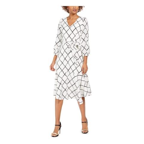 JESSICA HOWARD White 3/4 Sleeve Midi Fit + Flare Dress Size 6