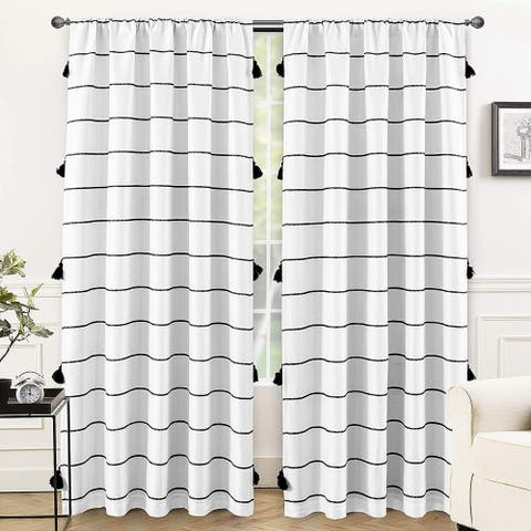 DriftAway Tassel Stripe Printed Boho Blackout Thermal Insulated Window Curtain