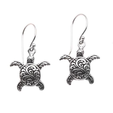 NOVICA Baby Turtles, Sterling silver dangle earrings