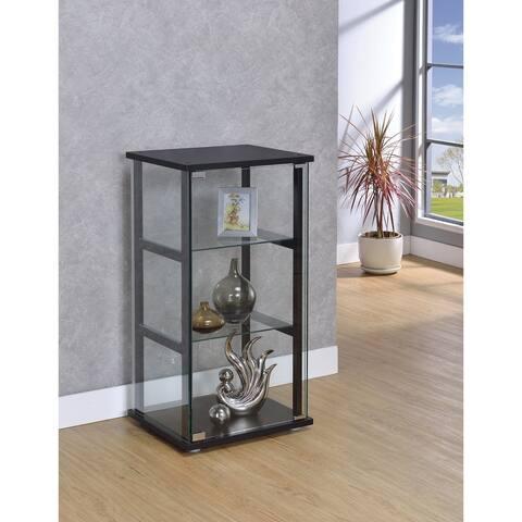 Callie Black Glass 3-shelf Curio Cabinet