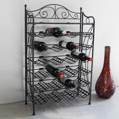 International Caravan Iron 24-bottle Wine Rack with Shelf