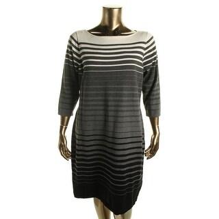 Lauren Ralph Lauren Womens Plus Sweaterdress Knit Striped
