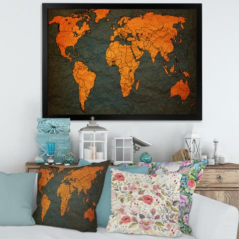 Designart 'Ancient Map of The World Africa' Vintage Framed Art Print