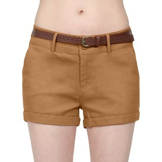 NE PEOPLE Womens Mid Rise Comfy Fitted Cuffed Hem Casual Shorts w/Belt [NEWP93]