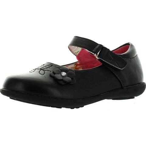 Girls School Collection Clase-08 Girls Kids Casual Flower School Uniform Shoes - Black