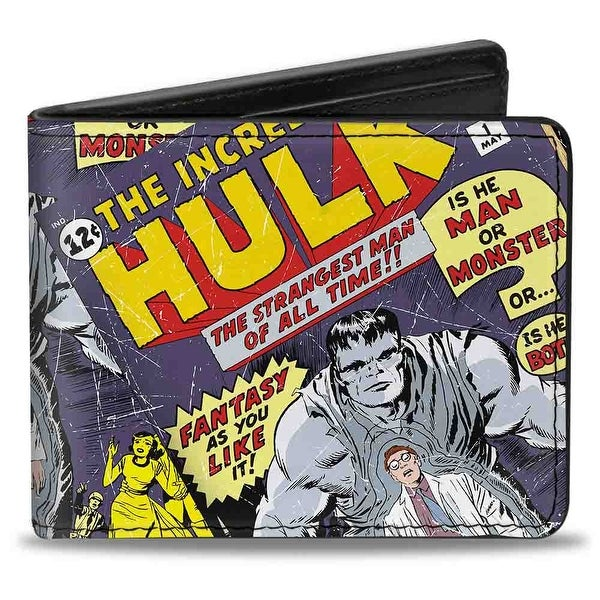 Marvel Comics Classic Hulk Issue #1 Cover Pose The Strangest Man Of All Bi-Fold Wallet - One Size Fits most