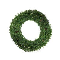 6' Pre-Lit Dakota Red Pine Commercial Artificial Christmas Wreath - Clear Dura Lights - green