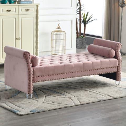 Stefania 72-inch Flared Arm Velvet Tufted Upholstered Bench