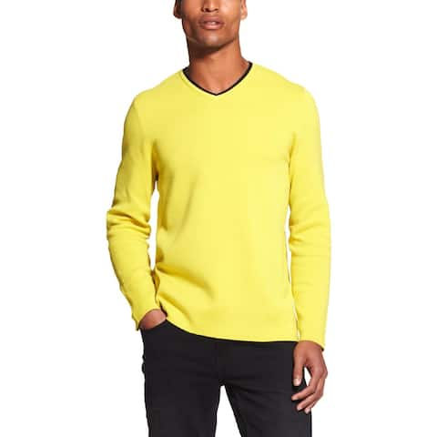DKNY Mens V-Neck Sweater Cotton Knit - XL