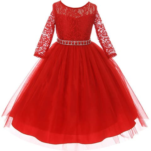 Classic Lace Pageant Wedding Flower Girl Dress Red MBK 372
