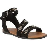 Minnetonka Women's Tangier Flat Sandal Black Suede