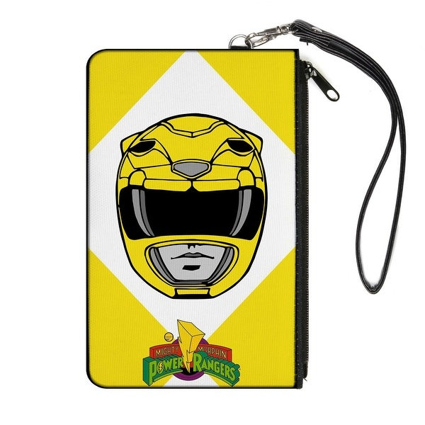 Diamond Yellow Ranger Face Mmpr Logo Yellow White Canvas Zipper Wallet
