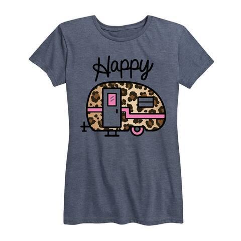 Happy Leopard Print Camper - Women's Short Sleeve Graphic T-Shirt
