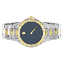 Movado Luno Sport Watch 2 Tone Black Dial 1.00 Carat Water Resistant Swiss Made