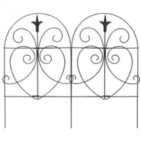"""PanaceaA¢ 89379 Romantic Style Folding Garden Fence, Black, 18"""" x 8'"""