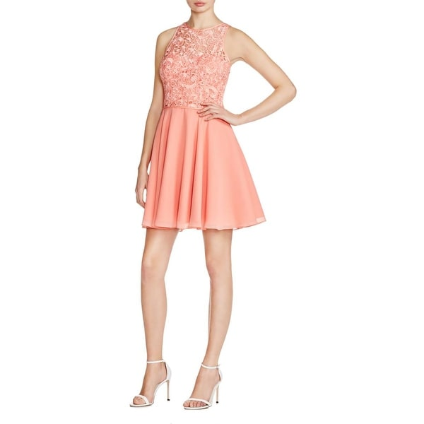 Aidan Mattox Womens Cocktail Dress Lace Illusion Lined