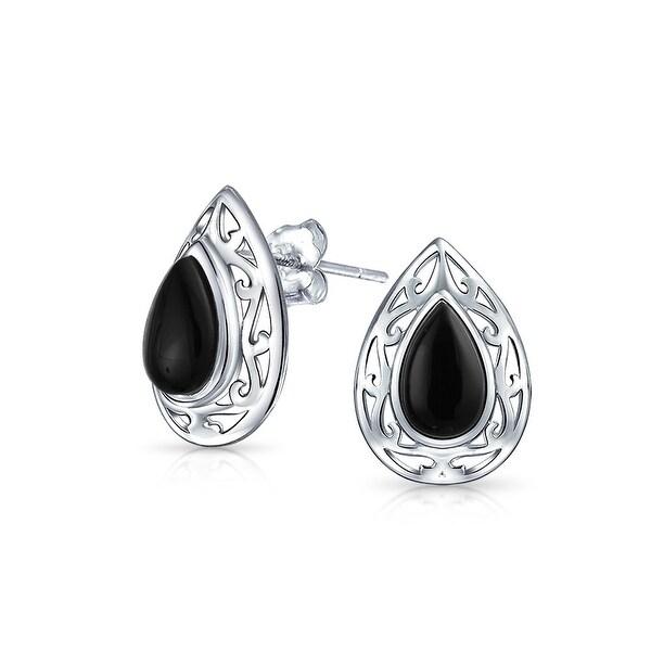 688e9001a Shop Dyed Black Onyx Teardrop Pear Shape Filigree Stud Earrings For Women  925 Sterling Silver 15MM - On Sale - Free Shipping On Orders Over $45 -  Overstock ...