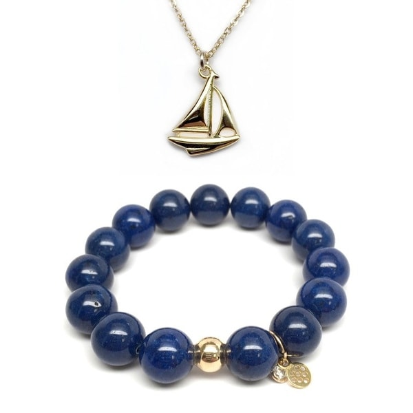 "Blue Jade 7"" Bracelet & Sailboat Gold Charm Necklace Set"