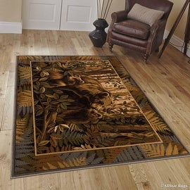 "Allstar African Contours Collection Bears Area Rug (3' 9"" x 5' 1"")"