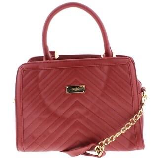 BCBG Paris Womens Satchel Handbag Faux Leather Quilted - Scarlet - MEDIUM