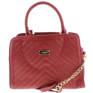 BCBG Paris Womens Satchel Handbag Faux Leather Quilted - MEDIUM