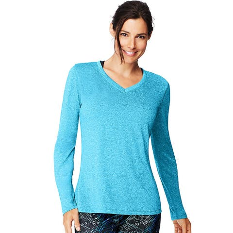 Hanes Sport Cool DRI® Women's Performance Long-Sleeve V-Neck T-Shirt - Color - Underwater Blue Heather - Size - S