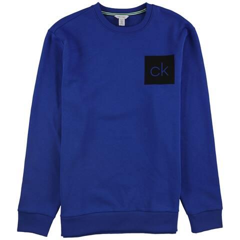 Calvin Klein Mens Soft Touch Logo Sweatshirt, Blue, Medium