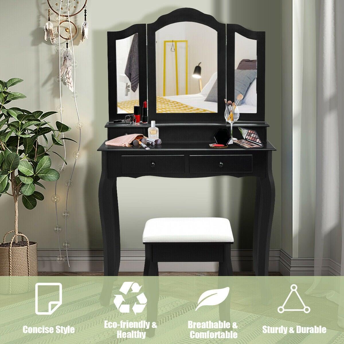Vanity Makeup Dressing Table Set Stool 2//4Drawer /& Mirror Jewelry Wood Desk