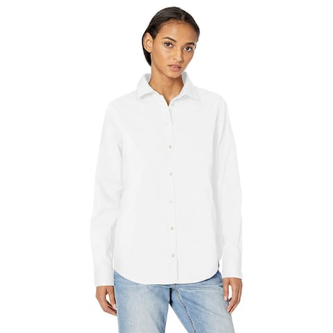 Essentials Women's Classic-Fit Long-Sleeve Poplin Solid Shirt, White, L - Large