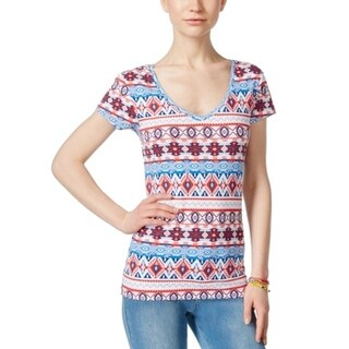 Energie NEW Red Blue Women's Size Small S Mila Tribal V-Neck Tee T-Shirt